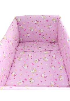 Lenjerie patut 7 piese, Maxi, Hello Kitty, roz deschis, 120x60cm