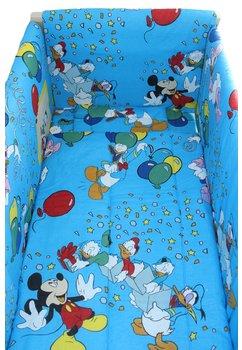 Lenjerie patut 7 piese, Maxi, Mickey petrece, albastru, 120x60cm