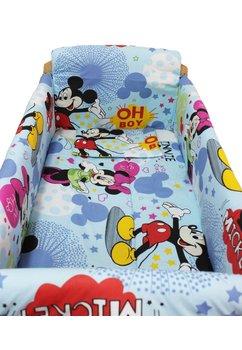 Lenjerie patut 7 piese, Maxi, Minnie si Mickey, albastru, 120x60cm