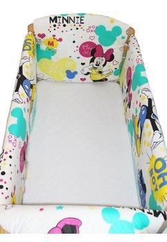 Lenjerie patut 7 piese, Maxi, Minnie si Mickey, crem, 120 x 60 cm