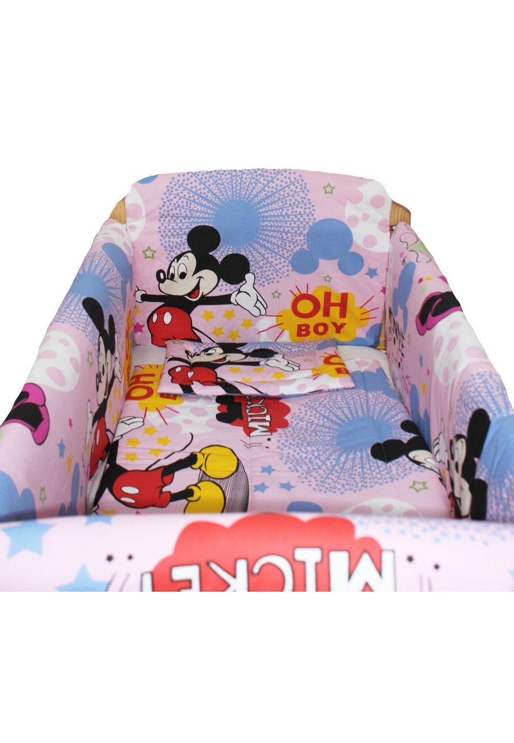 Lenjerie patut 7 piese, Maxi, Minnie si Mickey, roz, 120x60cm imagine