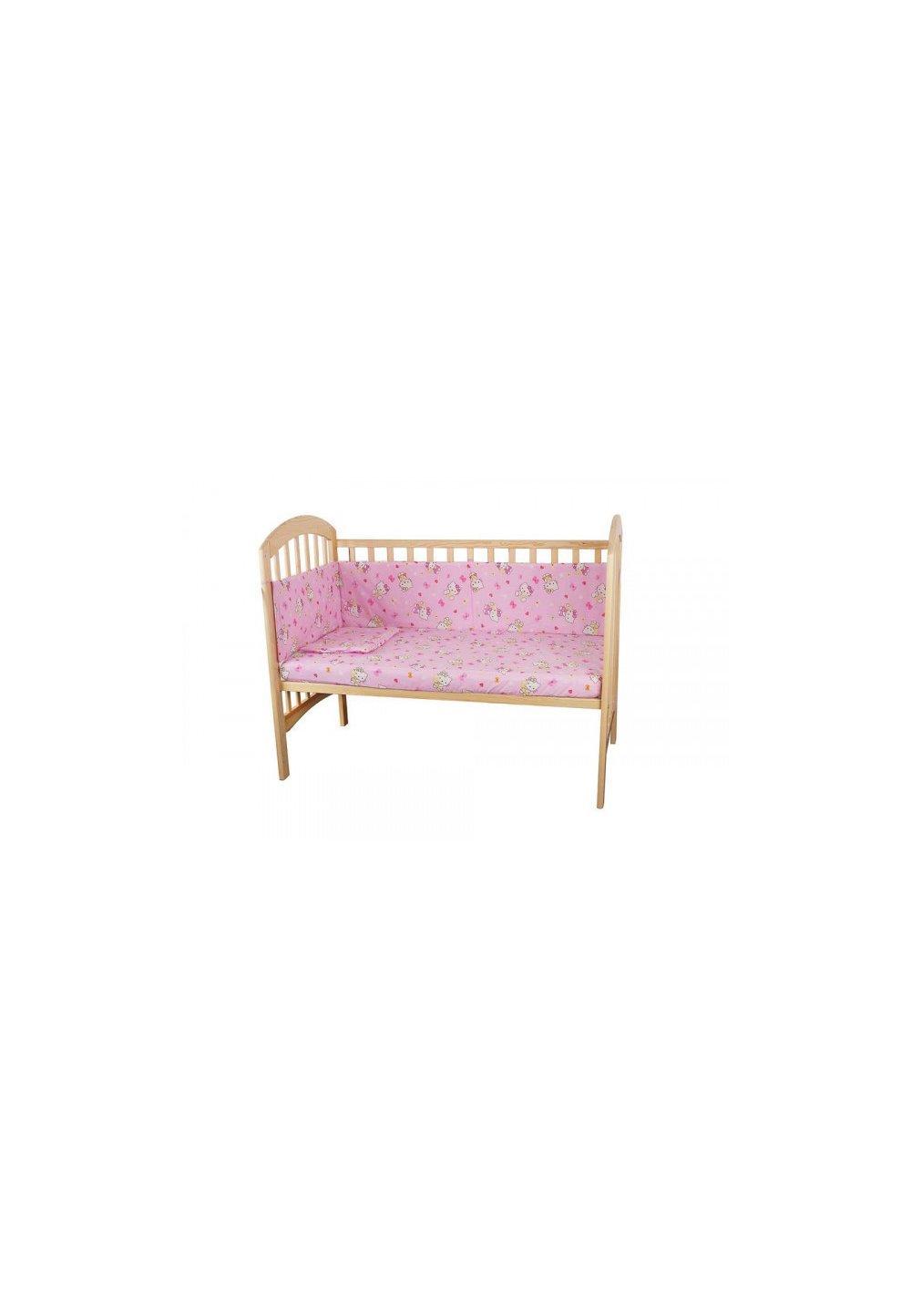 Lenjerie patut Hello Kitty, 5 piese, roz deschis, 140x70 cm imagine