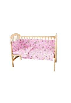 Lenjerie patut Hello Kitty, 3 piese,  roz deschis, 120x60 cm
