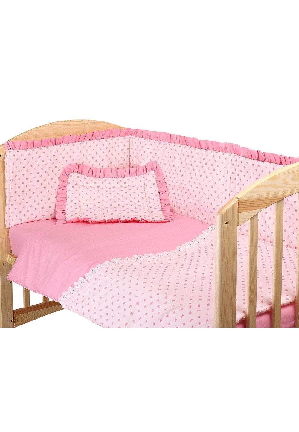 Lenjerie patut, roz cu stelute roz, 3 piese, 120x60cm imagine