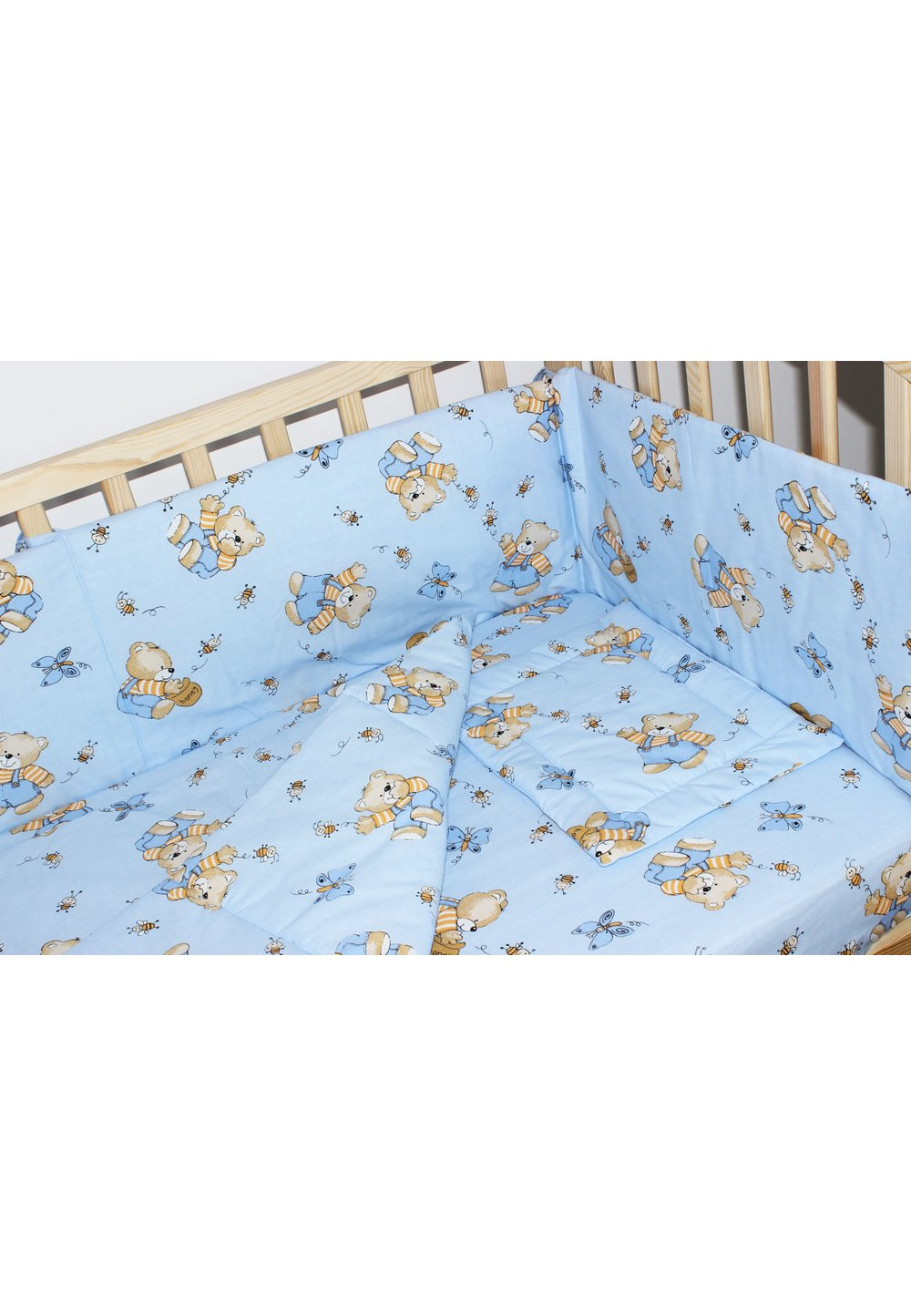 Lenjerie ursulet cu albinute albastre,4 piese imagine