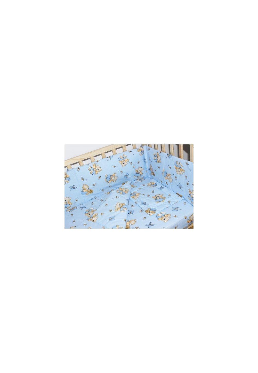 Lenjerie ursulet cu albinute albastre,5 piese 140x70cm imagine