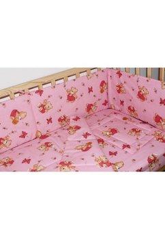 Lenjerie ursulet cu albinute roz,5 piese 140x70 cm