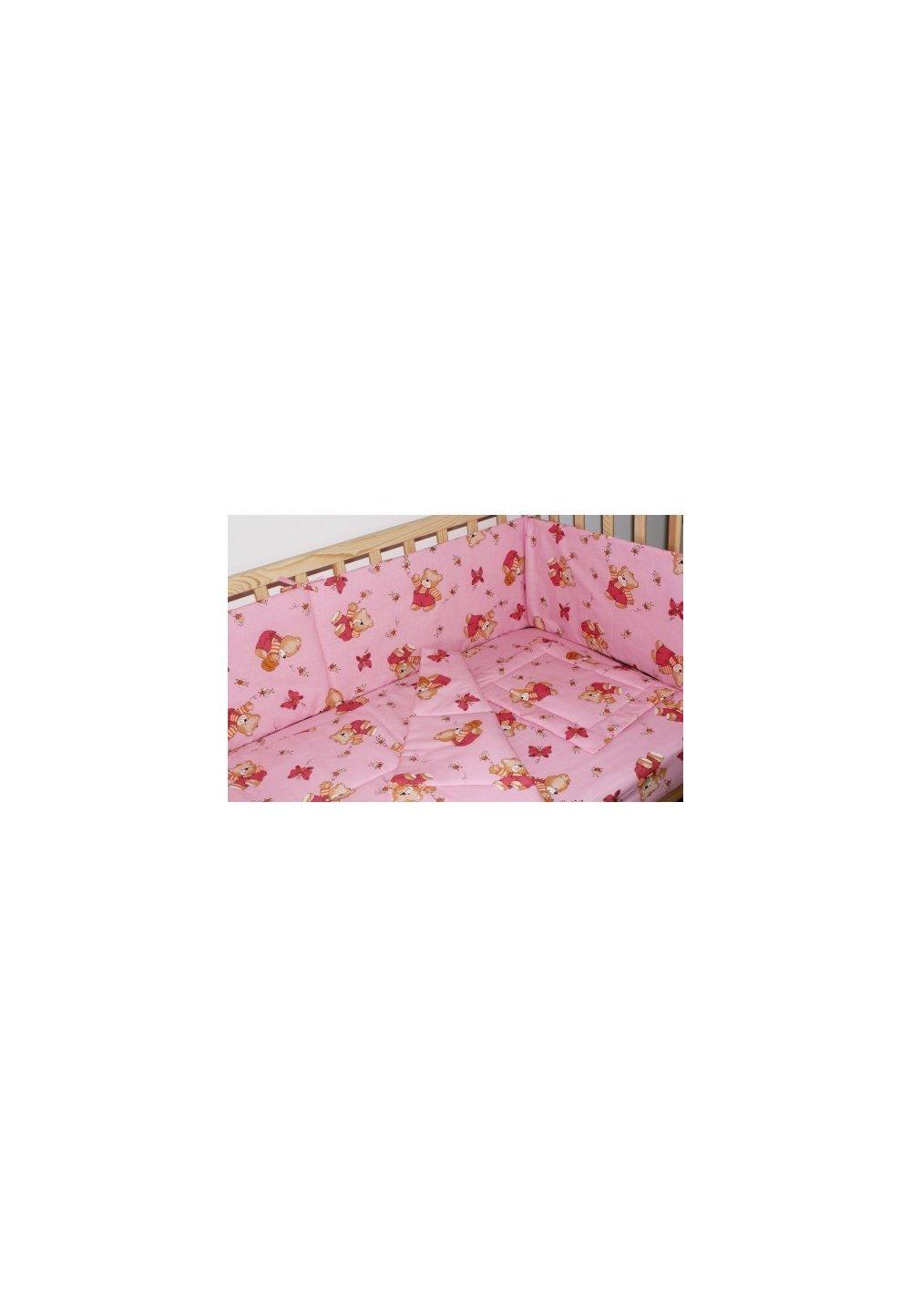 Lenjerie ursulet cu albinute roz,5 piese 140x70 cm imagine