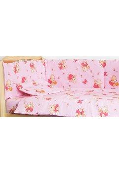 Lenjerie ursulet cu albinute roz,5 piese 120x60 cm