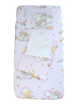 Lenjerie vara, 3 piese, ursuletul somnoros roz