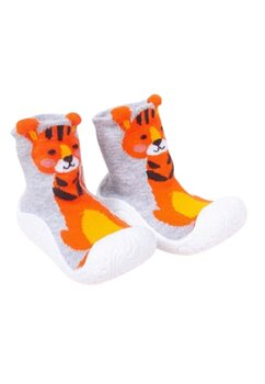 Mocasini, gri cu Tigru portocaliu