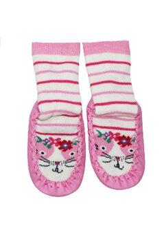 Mocasini, pisicuta cu flori, roz cu dungi