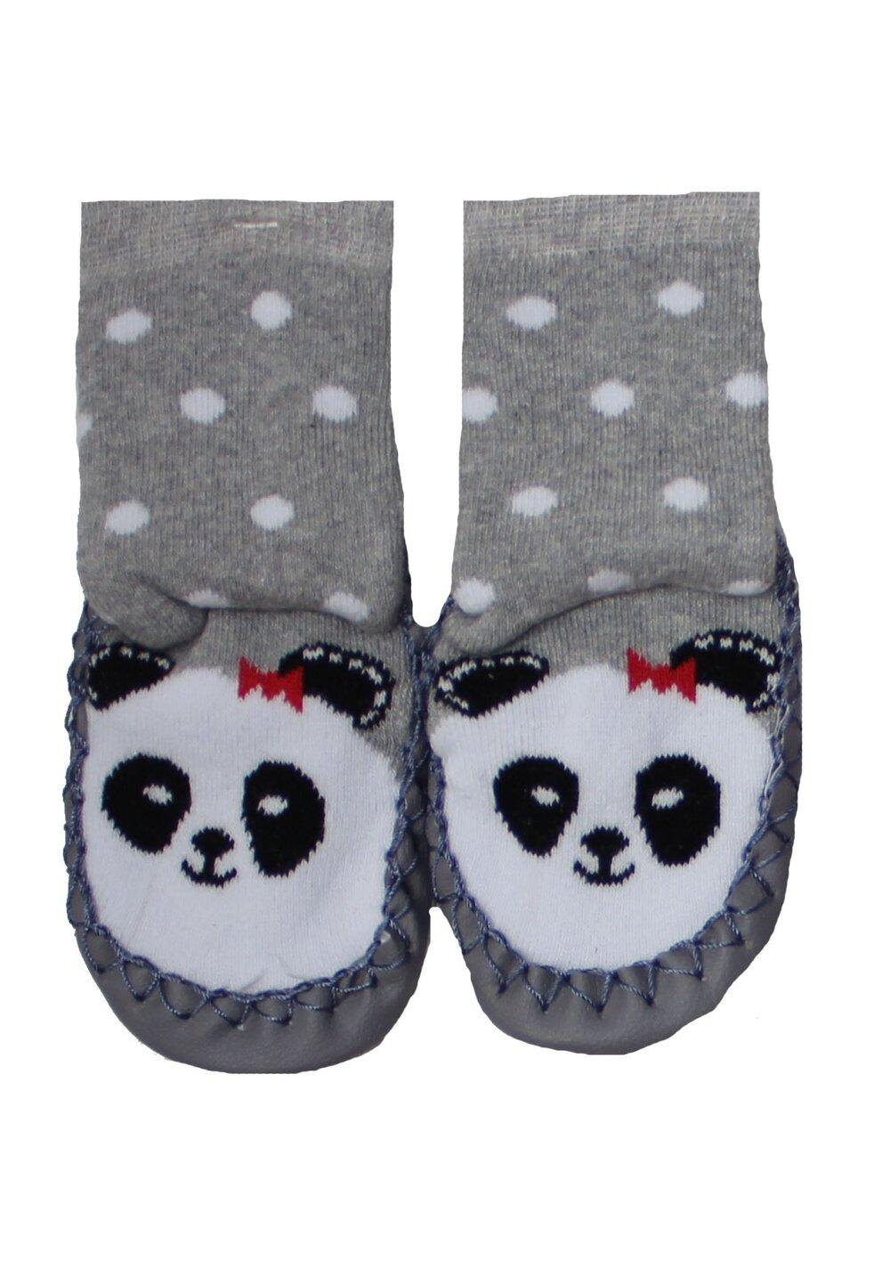 Mocasini, ursuletul panda, gri cu buline albe imagine