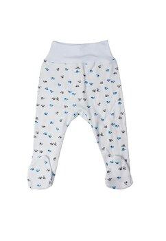 Pantaloni cu botosi, albi cu labute albastre