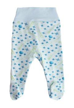 Pantaloni cu botosi, albi cu stelute albastre si verzi
