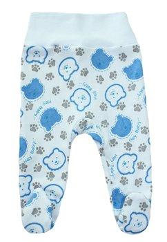 Pantaloni cu botosi, albi cu ursuleti albastri