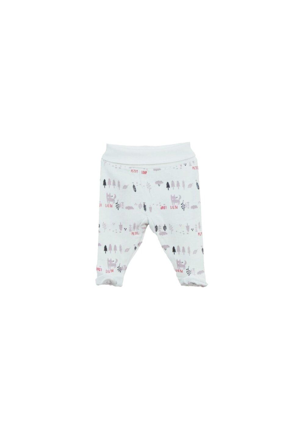 Pantaloni cu botosi, albi cu vulpe imagine
