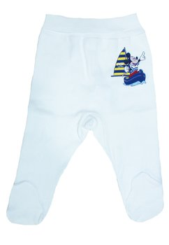 Pantaloni cu botosi, albi, Mickey Mouse