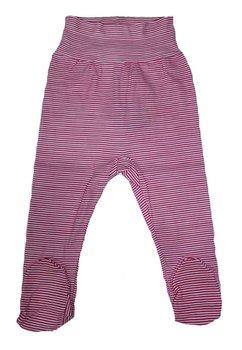 Pantaloni cu botosi, roz cu dungi albe