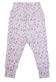 Pantaloni, albi cu floricele roz