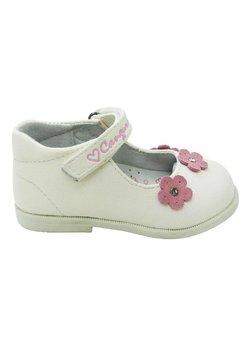 Pantofi, alb perlat, floricica