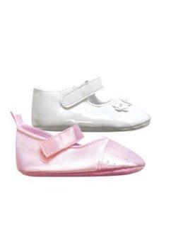 Papucei bebe, albi cu 3 floricele