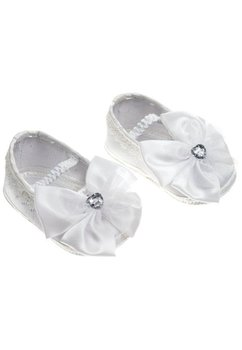 Papucei botez, albi, cu elastic si fundita