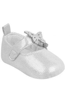 Papucei bebe, argintii cu fluturi