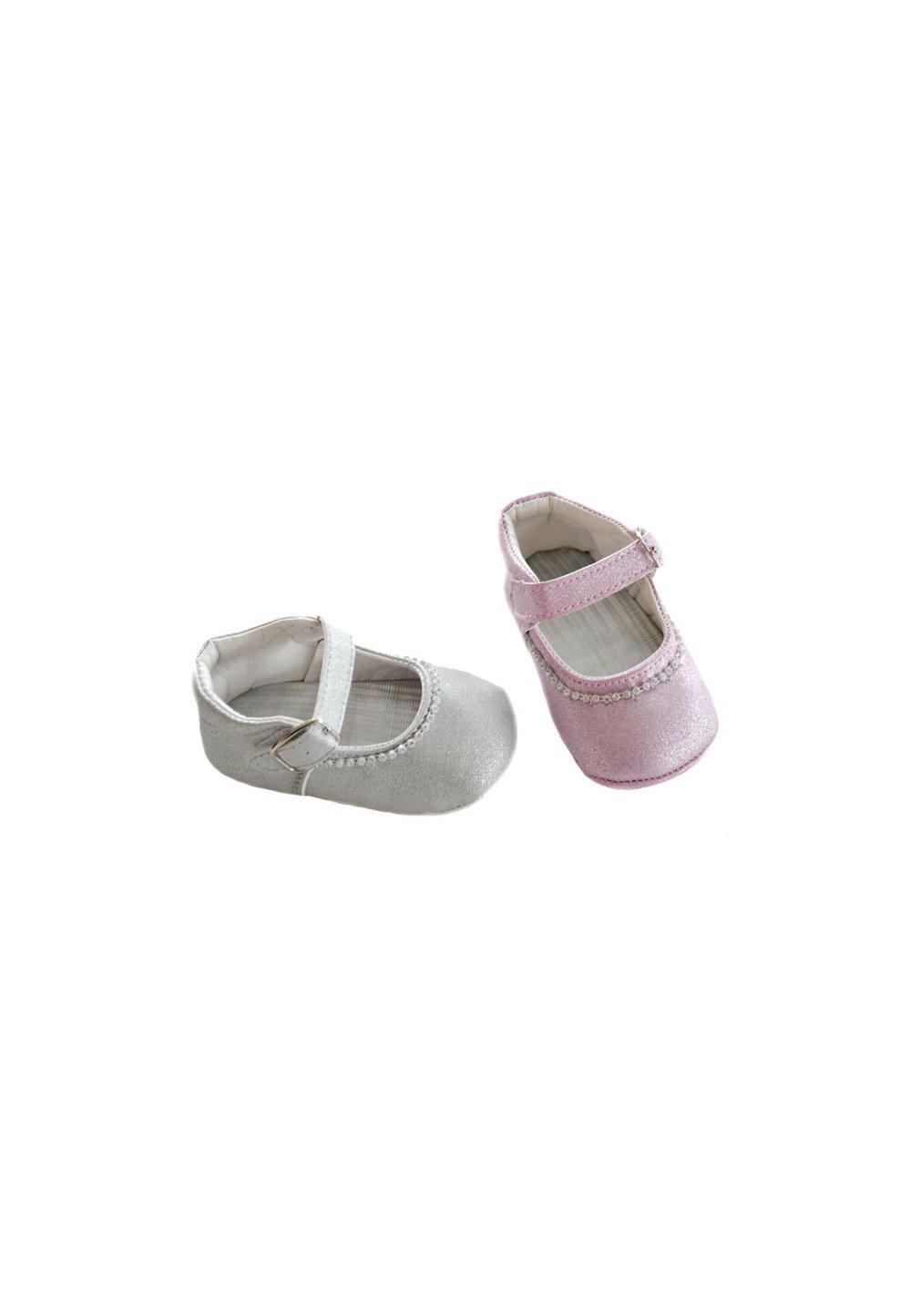 Papucei bebe, argintii, cu margelute imagine