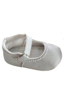 Papucei bebe, argintii, cu margelute