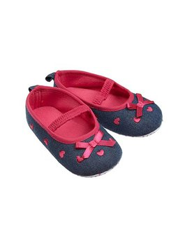 Papucei bebe, blugi, roz inchis