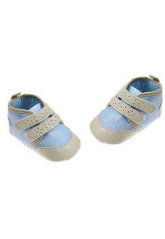 Papucei bebe, crem cu albastru deschis