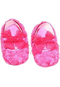 Papucei bebe, cu floricele, roz inchis