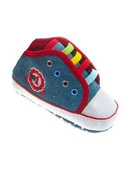 Papucei bebe din blug albastru deschis, model nr 1
