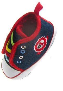 Papucei bebe din blug albastru inchis, model nr 1