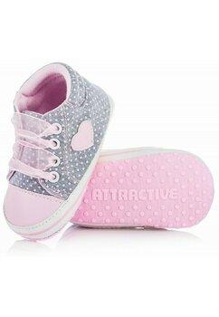 Papucei bebe, gri cu buline roz