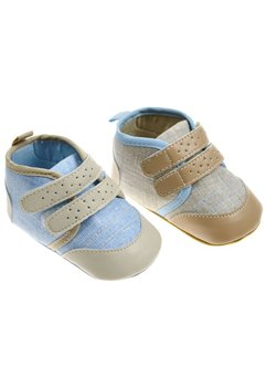 Papucei bebe, maro cu albastru deschis