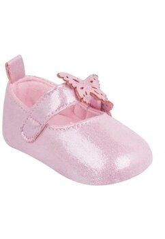 Papucei bebe, roz cu fluturasi