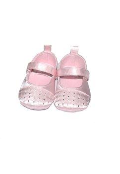 Papucei bebe, roz cu pietricele, cu scai