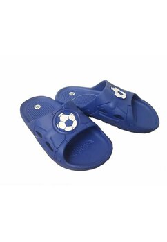 Papuci baieti, albastri cu minge de fotbal