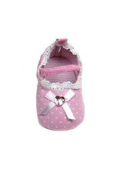 Papuci bebe, bulinute albe, roz deschis