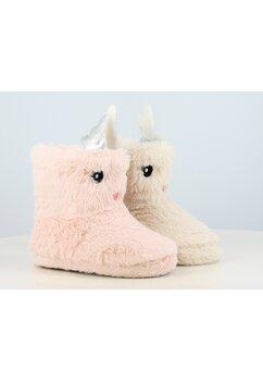 Papuci de casa, din blana, Ren, roz