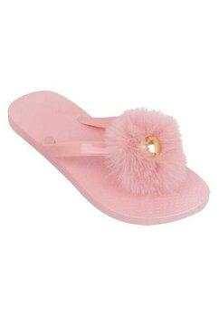 Papuci flip-flop, roz cu pompon