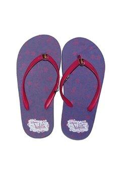 Papuci flip-flop, Violetta, mov cu floricele