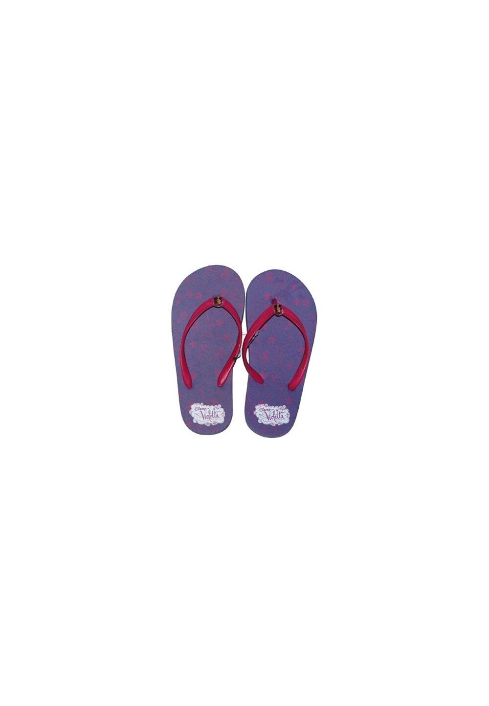 Papuci flip-flop, Violetta, mov cu floricele imagine