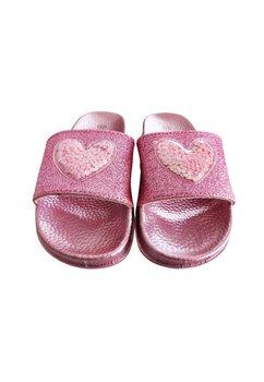 Papuci, roz cu inimioara