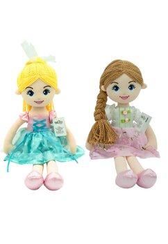 Papusa, Emilka, cu rochie roz cu alb