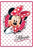 Paturica plus Minnie Mouse, alba cu buline roz, 80 x 110 cm