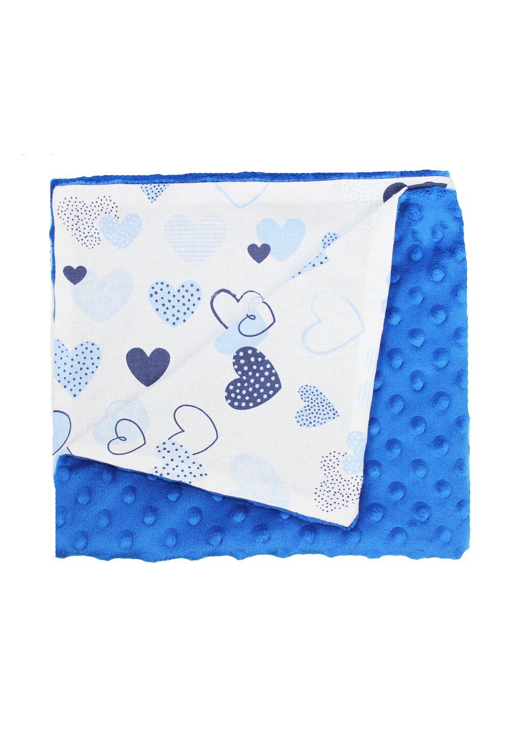 Paturica 2 fete, Minky albastru inchis, inimioare albastre imagine
