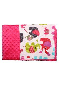 Paturica 2 fete, Minky roz, elefantei